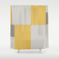 Modern Grey Chevrons Misted Yellow Colorblock Shower Curtain by Oh So Girly