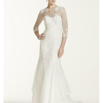 Melissa Sweet Wedding Dress with Illusion Sleeves - Davids Bridal