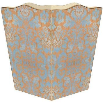 Copper and Blue Damask Wastepaper Basket