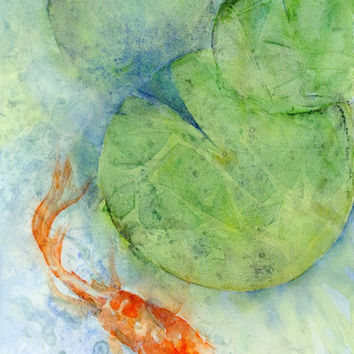 Watercolor abstract koi fish art print, koi fish abstract painting, koi pond zen art, contemporary art, zen decor, blue green 11x14 print