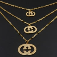 GUCCI New necklace three-layer gold pendant jewelry necklace and earring two piece suit Golden