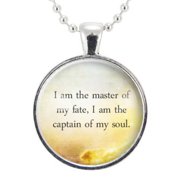 Master Of My Fate Inspirational Quote Necklace, Motivational Saying Jewelry, William Ernest Henley Quotes Pendant