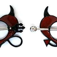 Nipple Ring Shield Piercing Jewelry Devil Horns Pitchfork Pair 14 gauge sold as pair CH55