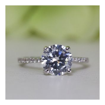 2.00 Ct. Round Solitaire Cubic Zirconia Engagement Ring In Sterling Silver