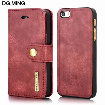 Vintage Leather Magnetic Back Cover Cases For Apple iPhone 5s Case Flip Cover Mobile Phone Shell 2 in 1 For iPhone 5 5s SE Case