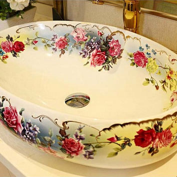 Oval Bathroom Lavabo Ceramic Counter Top Wash Basin Cloakroom Hand Painted Vessel Sink bowl 5015