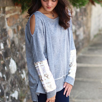 Cold Shoulder Sequin Sleeve Sweater {Grey}
