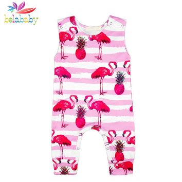 Infant's and Girl's Adorable Pink Flamingo Patterned Romper