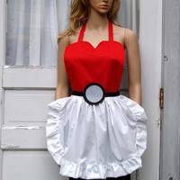 Pokeball Apron Cosplay Costume Cook Chef Convention Geek Gamer Pokemon