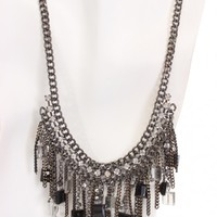 Pewter Black Faceted Beaded Fringe Necklace