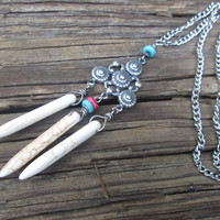 Tribal Necklace / Boho / Native American Inspired / White  Magnesite  / Spears / White Blue Silver /