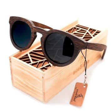 BOBO BIRD Luxury Brand Polarized Lens Sun Glasses Women Beach Wood Sunglasses Men with Wooden Box Steampunk C-BG012