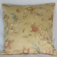 """Oriental Birds and Flowers Pillow Cover, 19"""" Cotton Square, Gold, Apricot, Terracotta, Blue, Ready to Ship"""