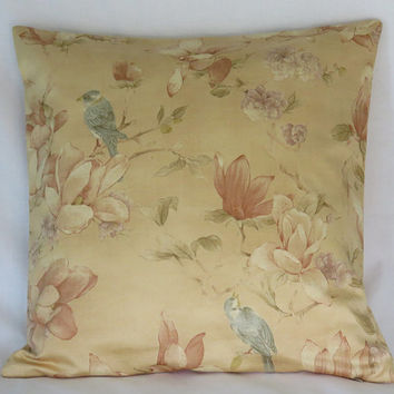 "Oriental Birds and Flowers Pillow Cover, 19"" Cotton Square, Gold, Apricot, Terracotta, Blue, Ready to Ship"