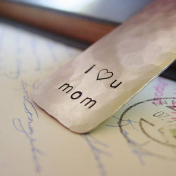 I Love You Mom Bookmark Hand Stamped Silver by PearlieGirl on Etsy
