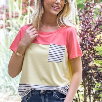 Sandy Striped Pocket Block Top