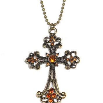 Amber Crystal Cross Necklace Vintage Gold Tone Christian NC05 Charm Antique Pendant Fashion Jewelry