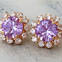 Rose gold violet purple crystal stud earrings, Bridesmaids gift, Bridal earrings, Bright purple stud earrings, Halo studs, gold or silver