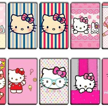 10 pcs/lot Cute Hello Kitty Stickers Toys Girl women Lovely Cartoon KT Cat Kids Classic Toy Anime Bank Bus ID Card Stickers gift