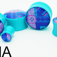Reconfigured Aztec Print BMA Plugs 2g 6mm by BMAMOD on Etsy