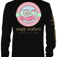Simply Southern Plus Size Southern State of Mind Long Sleeve Tee in Black LSPRPSTATE-BLACK-XXL