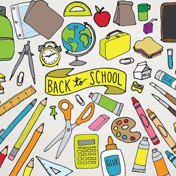 Back to School Clipart - school supplies clipart, backpack, science clipart, art supplies, hand drawn clipart, scrapbooking printables