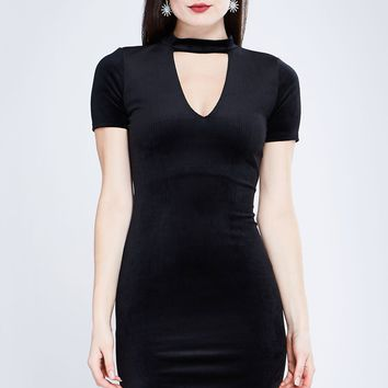 Short Sleeve Cutout Front Black Mini Dress