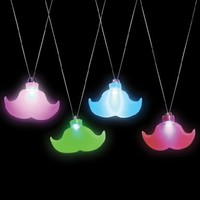 Light Up Moustache Necklace Party Accessory
