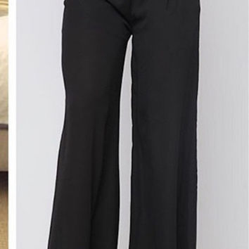 Casual Palazzzo Pants - Black - Final Sale