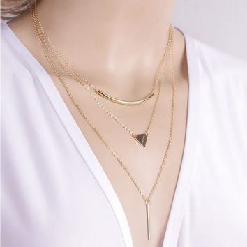 3 Tier Necklace | Gold or Silver 3 chain necklace