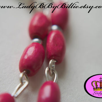 Handmade Woodland Bright Dangle & Drop Earrings - Magenta 3 Dangle