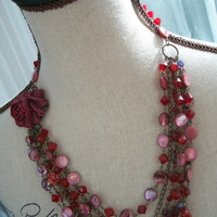 Multi Strand Layered Statement Bib Necklace - Sadie - Purple and Crimson Shell Beads - Dramatic, Rose,OOAK, Special Occasion