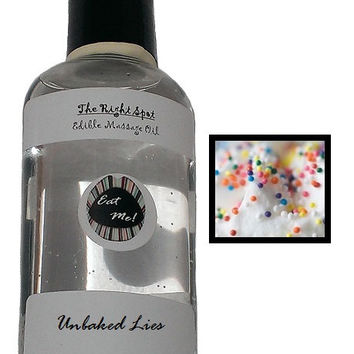 The Right Spot - Unbaked Lies (Cake Batter) Natural Vegan, water based, latex compatible, sensual warming edible massage oil w/ Aloe Vera