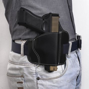 Tactical Hunting Airsoft Airgun Pistol Leather Belt Holster For Glock 17 19 Sig Sauer Most Pistol Gun Holster Right Hand