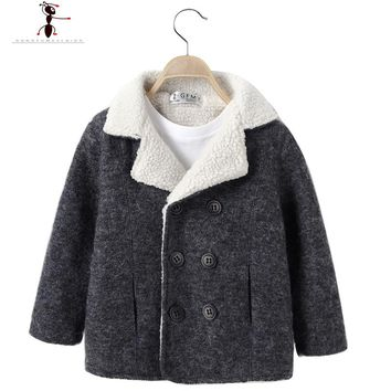 High Quality Woolen Boys Turn-down Collar Warm Winter Cool Boys Fashion Double Breasted Kids Coat 2523