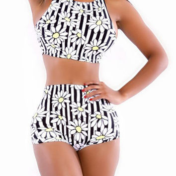 1cad4c3e9a Daisy Print High Waisted Bikini Swimsuit from Hello Styles