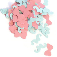 Baby Shower Confetti - 100 Gender Neutral Mustaches and Bows - Blue and Pink #babyshower #confetti #party #mustaches #bows