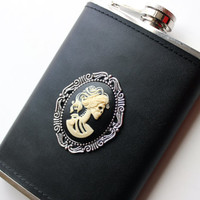 Lolita Skeleton Cameo Leather Wrapped Flask