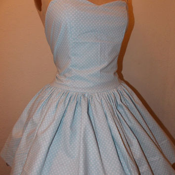 Baby Blue and White Polka Dot Custom Made to Order Sweet Heart Strapless Pin Up Mini Dress