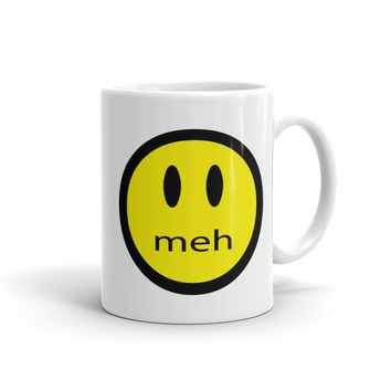 Smiley Face Meh Coffee Mug