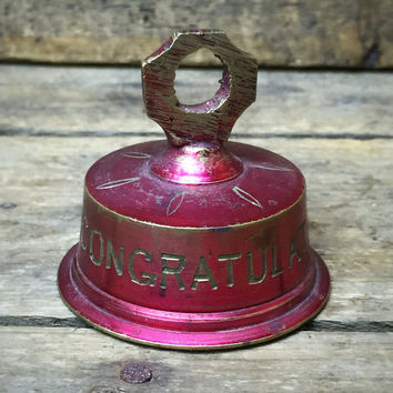 "Congratulations Brass Bell Made in India 2"" H **spelling mistake on bell**"