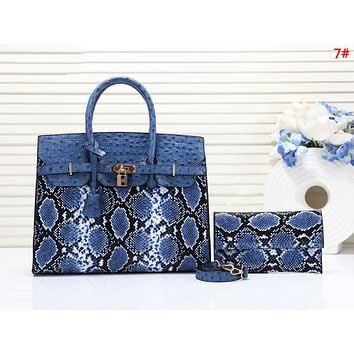 Hermes Fashion New Snake Texture Print Leather Shoulder Bag Women Handbag Two Piece Suit  7#