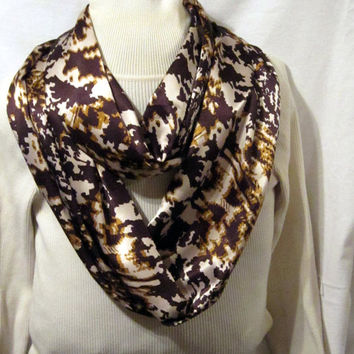 Ladies Infinity scarf, circle scarf, cowl scarf  in browns and tans