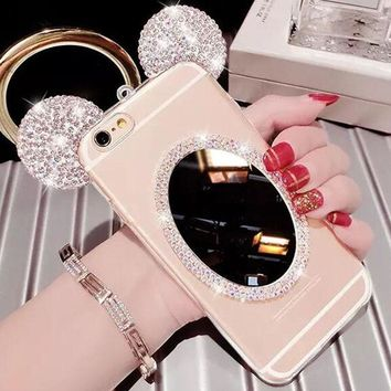 For Fundas Samsung Galaxy A5 2016 S6 edge Plus S8 S7 S6 Note 4 5 Cases New 3D Rhinestone Mickey Ears Soft TPU Mirror Phone Cover