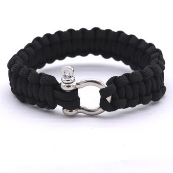 2016 New Outdoor Camping Paracord Bracelets For Men Women Parachute Rope Clasp Survival Bracelet Homme Handmade Braided Jewelry