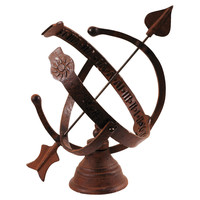 """12"""" Cast-Iron Standing Sundial, Brown, Sun Dials, Thermometers & Barometers"""