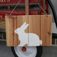 Rabbit Sign for Easter/ Spring on Reclaimed Wood - Rustic Wood Wall Art - Painted Sign decor