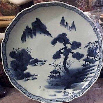 Nabeshima Blue and White Hand Painted Japanese Scalloped Low Bowl