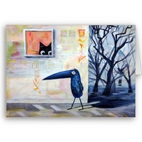 Cat and Bird Card from Zazzle.com