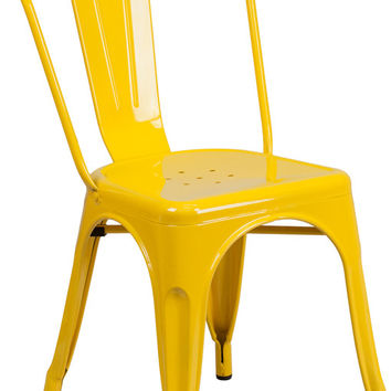 Tolix Style Yellow Metal Indoor-Outdoor Chair